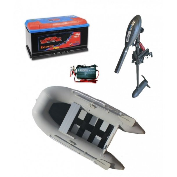 Gummibåd-sætADVENTUR 250incl. 55 lbs Haswing motor, marinebatteri 100 AH samt oplader